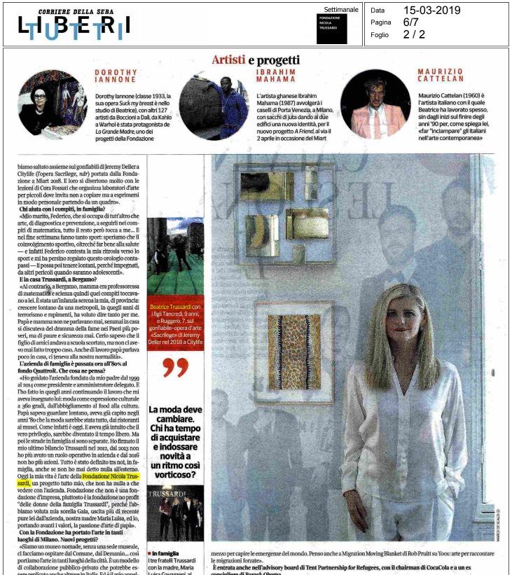 Quadro di Luce Quadrato Gio Ponti su Corriere della sera 2019 Articolo Trussardi
