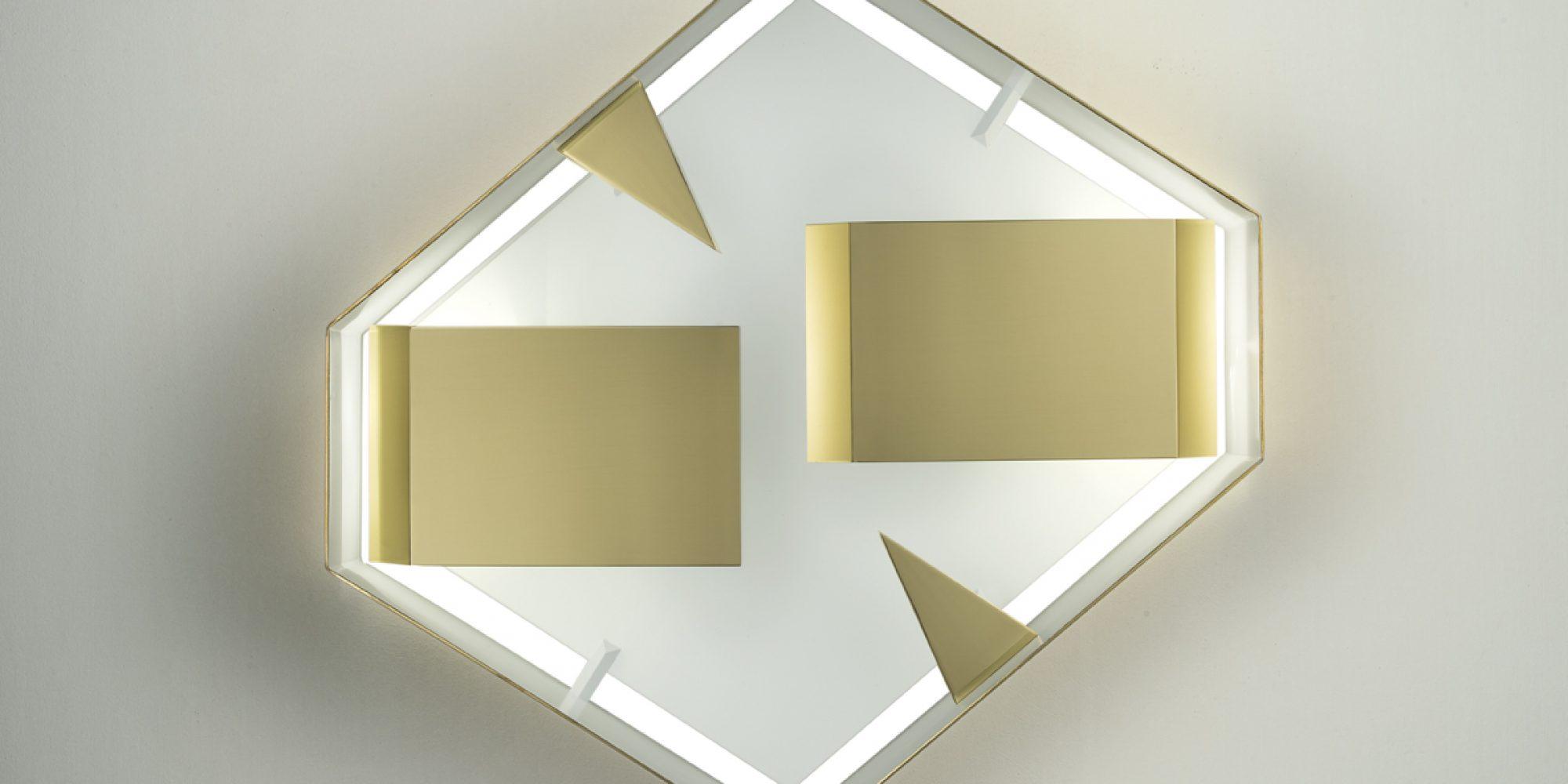 Gio Ponti Quadro di Luce esagonale ottone lucido