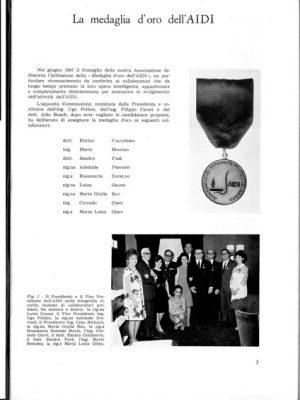 AIDI 1967 medaglia d'oro aUgo Pollice